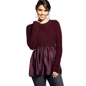 Plum sweater with skirt